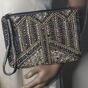 Charming Charlie beaded wristlet black pewter gold